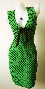 50s-VINTAGE-STYLE-GREEN-POLKA-DOT-SWING-PINUP-ROCKABILLY-RETRO-DRESS-XL-1140