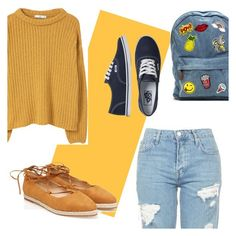 """Yellow"" by amanda-ineffable ❤ liked on Polyvore featuring Topshop, MANGO and Vans"