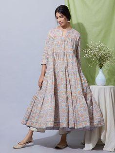 Multicolor Hand Block Printed Cotton Suit- Set of 3 Pakistani Fashion Casual, Pakistani Dresses Casual, Pakistani Dress Design, Muslim Fashion, Frock Fashion, Fashion Outfits, Quoi Porter, Kurta Designs Women, Maxi Robes