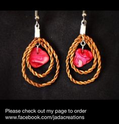 Cedar rope double teardrop earrings with pink mother of shell. Size small. $25.  Cedar weaving. Handwoven from red cedar. Made by Jaimie Davis, a Gitxsan/Nisga'a artist of Northwest BC. PayPal accepted. Email jadacreations1120@gmail.com and for more info. Follow me on Instagram @jadacreations !!! LIKE me on facebook www.facebook.com/jadacreations