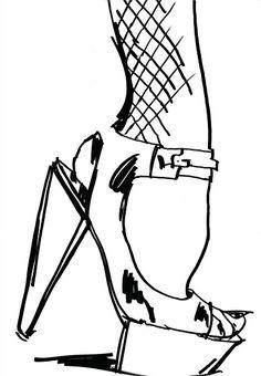 High heel footwear illustration by Barbara Hulanicki