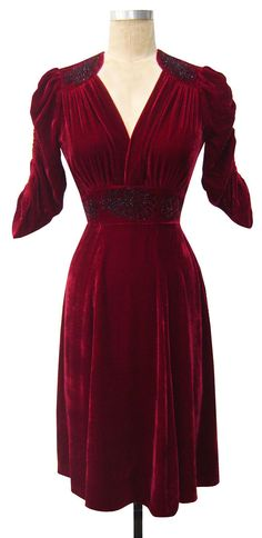 Candice Gwinn Natasha Dress | Vintage Inspired Dress | Wine Silk Velvet