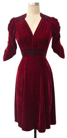 Candice Gwinn Natasha Dress | Vintage Inspired Dress | Wine Silk Velvet