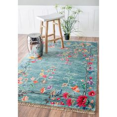 nuLOOM Hand-Knotted Chinese Art Deco Floral Vines Silk/ Cotton Blue Rug (7'6 x 9'6)