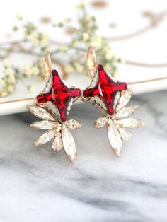 Ruby Earrings Ruby Red Bridal Earrings Swarovski Red by iloniti Bridesmaid Earrings, Bridal Earrings, Bridal Jewelry, Bridesmaids, Ruby Earrings, Bridal Shower Rustic, Swarovski Crystal Earrings, Necklace Online, Ruby Red