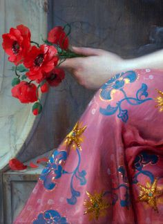 Emile Vernon (1872-1919) Girl with a Poppy, detail.