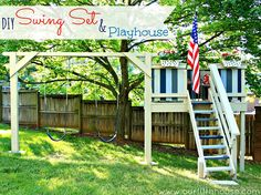 I actually think, with a little help, I could build this for the kids!  Our Fifth House  DIY Swing Set Playhouse  http://www.ourfifthhouse.com/diy-swing-set-playhouse/