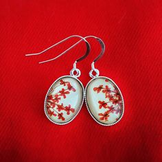 Pressed flower red earrings 925 sterling silver with dry flowers real flower jewelry over beige leather - silver flower earrings