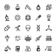 Science icons - Black series vector art illustration