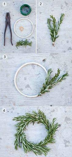 Make miniature rosemary wreaths.