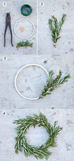 Make miniature rosemary wreaths.  Very east to make --- great gifts at the holidays.  You will smell rosemary every time you are near where this wreath hangs.