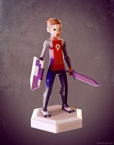 Low poly character design. instagram.com/jpenningtonart #sword #videogame #3d #blender #conceptart