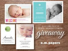 Birth Announcement Giveaway at e.m.papers #giveaway #baby #announcements