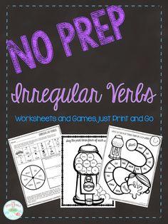 No Prep Irregular Past Tense Verb FREEBIE