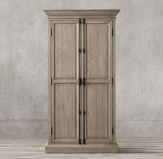 RH's French Panel Double-Door Cabinet:In the mid 1800s, during the reign of Napoleon III, French furniture makers drew inspiration from an eclectic mix of Renaissance and neo-classical styles. Our cabinet reflects that period in its stately scale and deeply carved panels, but trades the heavy ornamentation of the day for a stripped-down silhouette that showcases the working slide bolt.