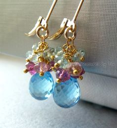 Sky blue topaz gemstone briolette earrings with cluster of pink tourmaline and aquamarine in 14k gold filled on leverback earwire