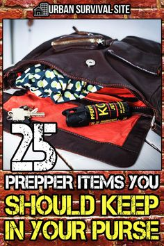 Having some supplies in your purse can help you survive when disaster strikes. Here's a list of survival items that are small enough to carry in your purse. Emergency Supplies, Emergency Preparedness Kit, Survival Prepping, Survival Skills, Survival Shelter, Emergency Food, Survival Mode, Homestead Survival, Urban Survival