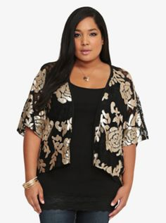 Torrid Premium Sequin Floral Kimono I can see myself wearing this with an all black jumpsuit or even black jeans and a tank.