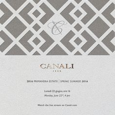 TODAY ON CANALI.COM Tune in to the live stream of our SS16 collection 4:00 p.m. CET ‪#‎MFWSS16‬ ‪#‎CanaliSS16‬ ‪#‎MFW‬
