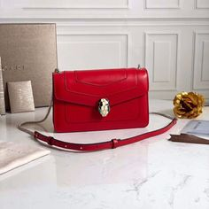 Bvlgari Serpenti Forever Small Flap Cover Chain Bag in Calfskin-Red Bvlgari Red, Bvlgari Bags, Bvlgari Serpenti, White Enamel, Luggage Bags, Calf Leather, Fendi, Calves, Hermes