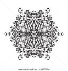 Ethnic Fractal Mandala. Vector Circle Meditation Tattoo