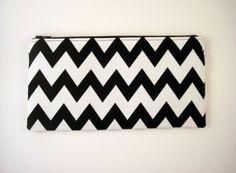 Zipper Pouch, Make Up Bag, Pencil Pouch, Gadget Bag, Black and White Chevron