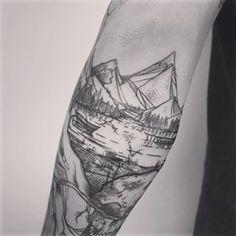 Ce paysage très élaboré.   26 magnifiques tatouages qui vont inspirer tous les amoureux de la nature