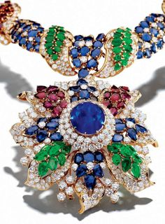 Necklace of diamonds, sapphires, rubies and emeralds by Alexandre Reza.