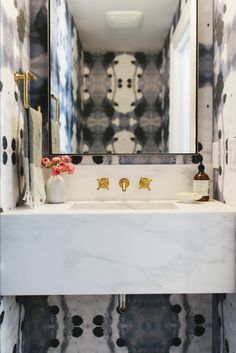 Navy + Brass + Floating Marble Sink || Studio McGee