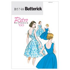Butterick Retro 5748 50s 60s Scoop Back Dress Vintage Sewing Pattern B5748 6-22