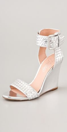 """I would pair these Alejandro Ingelmo """"Gilda"""" wedges with my rehearsal dinner maxi dress Silver Wedge Sandals, Silver Wedges, Strappy Wedges, Wedding Shoes Online, Designer Wedding Shoes, Silver Wedding Shoes, Silver Shoes, Wedding Wedges, Trendy Wedding"""