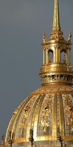 Paris Gold... France ~ Dome of les Invalides, Paris VII. Officially known as L'Hôtel National des Invalides (The National Residence of the Invalids), is a complex of buildings containing museums and monuments, all relating to the military history of France, as well as a hospital and a retirement home for war veterans.