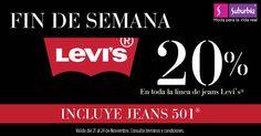 Suburbia: oferta en levi's del 24 al 27 de octubre Suburbia oferta en levi's Suburbia tiene una muy buena promoción en la marca Levi's, pues esta ofreciendo hasta 20% de descuento en los jeans de la marca mencionada. No aplica en chamarras de piel, zapatería o accesorios de la marca.