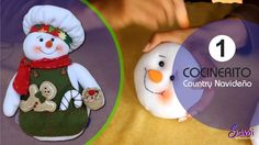 Cocinerito Paso a Paso Country Navideño  Parte 1 Christmas Crafts, Christmas Ornaments, Sewing Rooms, Snowman, Holiday Decor, Youtube, Feltro, Xmas, Baby Dolls