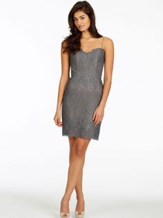 Charcoal lace over Mink lining bridesmaid dress, sweetheart neckline with spaghetti straps, natural waist.