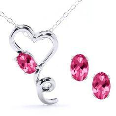 Mystic Pink Topaz Heart Pendant & Earring Set in Sterling Silver $34.99 at joyfulcrown.com