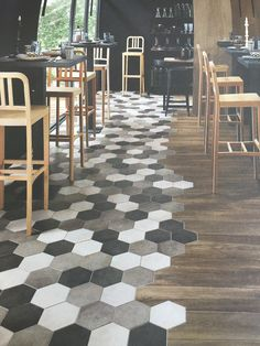 When it comes to interior design materials, the use of tiles is unevitable at some point of planning your home decor. There is a wide variety of Hexagon Tiles Deco Restaurant, Restaurant Design, Refinishing Hardwood Floors, Floor Refinishing, Hexagon Tiles, Room Tiles, Vintage Farmhouse, Vintage Kitchen, Kitchen Flooring