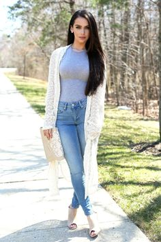CARLI BYBEL 》 Gray Bodysuit - Miss Guided | Nude Mules - Go Jane | Ivory Cardigan - ASOS | Blue Jeans - ASOS | Earrings - Princess P Jewelry | Gold Chained Rings - ASOS | Lace Clutch - ASOS | Lip Details - Lipliner, MAC Edge to Edge