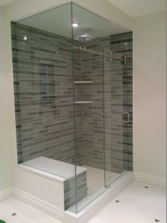 glass shower enclosure - love this! Glass Showers, Glass Shower Enclosures, Bathroom Ideas, Bathrooms, Laundry, Bathtub, Flooring, Decorating, Living Room