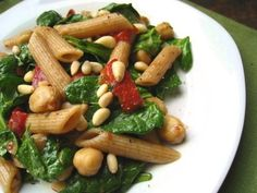 Garlicky Penne with Baby Spinach