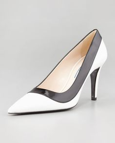 Two-Tone Pointed-Toe Pump by Prada at Neiman Marcus.
