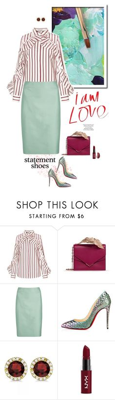 """Double Take: Statement Shoes"" by frechelibelle ❤ liked on Polyvore featuring RALPH & RUSSO, Armani Collezioni, Christian Louboutin, Allurez, NYX and Urban Decay"