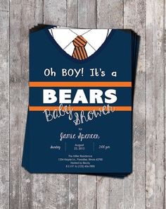 Chicago Bears Theme Baby Shower Invite // Ditka Sweater!!