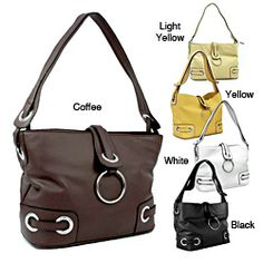 @Overstock - This beautifully designed shoulder bag by Dasein features a subtle faux leather construction detailed with grommet accents.  A single shoulder strap and zip-top, magnetic snap flap-over closure finish this lovely carry-all bag.http://www.overstock.com/Clothing-Shoes/Dasein-Faux-Leather-Grommet-Shoulder-Bag/6808141/product.html?CID=214117 $35.49