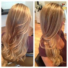 Balayage hair color. Ombré hair color. Balayage with ombré hair color. Blonde hair