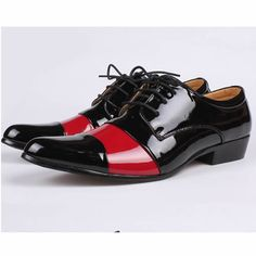 Black red dress shoes