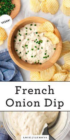 This French onion dip is the ULTIMATE snack or party appetizer! Creamy, tangy, and packed with umami flavor, it's vegan, dairy-free, and make-ahead friendly. Served with potato chips, it's SO addictive and delicious. | Love and Lemons #dips #appetizers #partyfood #snacks Vegan Appetizers, Vegan Snacks, Appetizers For Party, Appetizer Recipes, Healthy Snacks, Sour Cream And Onion, Lemon Recipes, Dip Recipes, Finger Foods