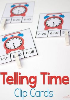 Printable Time Clip Cards 192 Time Clip Cards for learning to tell time! 7 levels of Time Clip Cards for learning to tell time! 7 levels of practice! Telling Time Activities, Teaching Time, Teaching Math, Preschool Activities, Teaching Money, Math Classroom, Kindergarten Math, Learn To Tell Time, Second Grade Math