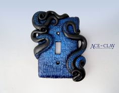 Midnight Blue II Octopus Tentacle Light Switch Cover by AceofClay