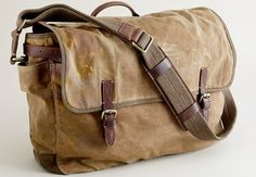 Waxed C and leather messenger